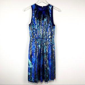 Elie Tahari Demetria Metallic Floral Print Dress